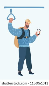 Man using smartphone conversation in public transport in train or bus. Vector cartoon illustration of person with backpack in modern concept
