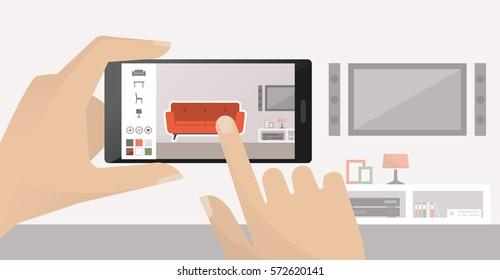 Man using a smartphone to place virtual furnishing in his room, augmented reality and apps concept