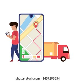 man using smartphone technology for logistic and delivery tracing by gps location app cartoon vector illustration graphic design