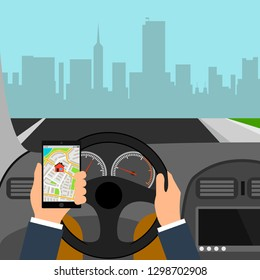 Man using smartphone while driving the car, traffic accident graphic design conceptual vector illustration. City map colored illustration for navigation program or mobile app.