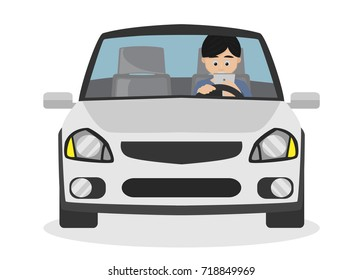 Man using smartphone while driving. Cartoon Vector. Isolated on White Background.