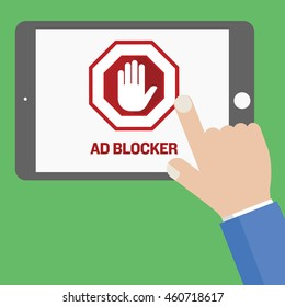 man using tablet and ad blocker screen in a flat vector design.