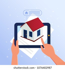 A man using tablet recive the data about real estate object with augmented reality. Concept of easy accessible information for reciving data with augmented reality. Vector flat design illustration.