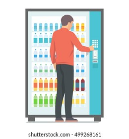 Man using vending machine with drinks. Vector illustration