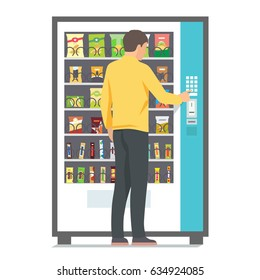 Man using vending machine with snacks. Vector illustration