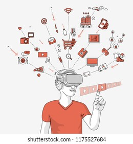 Man using virtual glasses for   online shopping and entertainment. Modern illustration in linear style.