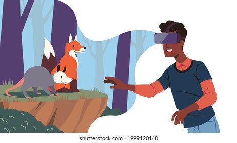 Man using VR headset immersing in nature world simulation game. Virtual forest with wild animals at his fingertips. Modern technology immersive VR goggles education expirience creative concept vector