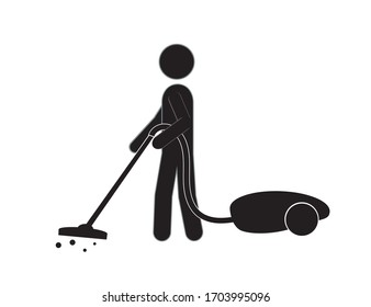A man with a vacuum cleaner does the cleaning. Cleanliness and health.