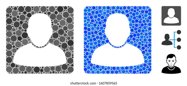 Man vcard composition of round dots in different sizes and color tones, based on man vcard icon. Vector round dots are grouped into blue composition. Dotted man vcard icon in usual and blue versions.