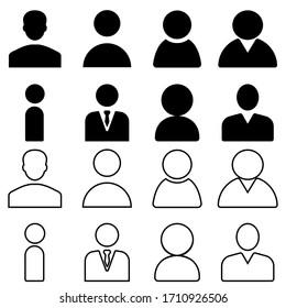 Man vector icon set. person illustration sign collection. user symbol. female logo.