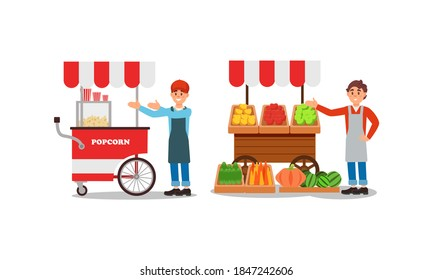 Man Vendor Standing at Street Booth or Stall with Vegetables and Popcorn Vector Illustration Set