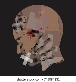 Man Victim Of Violence.  Young man grunge stylized silhouette with hand print on the face and with taped mouth. Vector available.