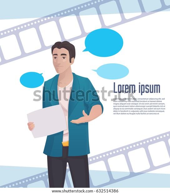 Man Video Blogger, Online Stream, Vector Illustration EPS10