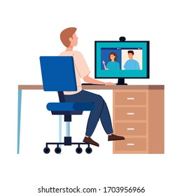 man in video conference with computer in workplace vector illustration design