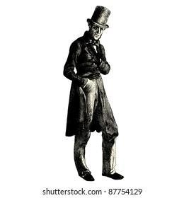 """Man - Vintage engraved illustration - """"Les Français"""" by L.Curmer in 1842 France"""