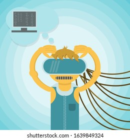 a man in virtual reality glasses holding his head connected by wires flat style is a social problem of mankind vector EPS 10