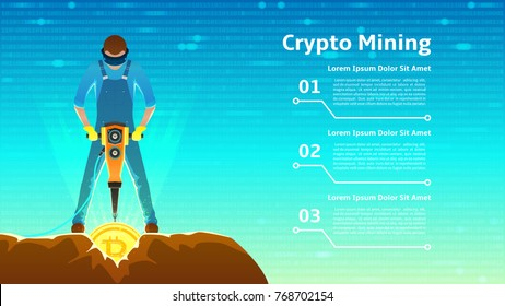 Man in Virtual Reality Glasses Mining Bitcoins. Modern Concept of Digital Crypto Mining. Person Extracting Coins from Rock with a jackhammer. Vector Illustration with Binary Computer Code.