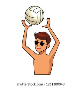 man with voleyball ball