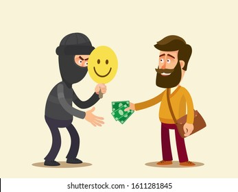 Man voluntarily gives his money to a fraudster. Fake good man. Swindling, scamming concept. Deception scheme on streets. Vector illustration, flat design, cartoon style. Isolated background.