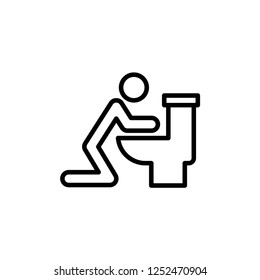 Man Vomiting over Toilet Icon Outline Vector
