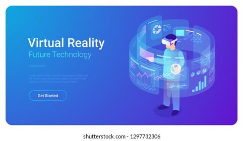 Man in VR helmet in Virtual Reality vector isometric flat illustration.