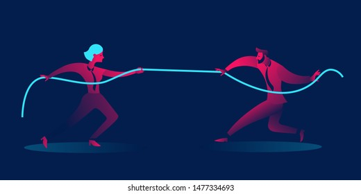 Man vs Woman, gender war.  feminism, gender equality. business concept in red and blue neon gradients