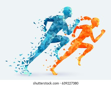 Man vs woman. Runners vector illustration. Feminism concept