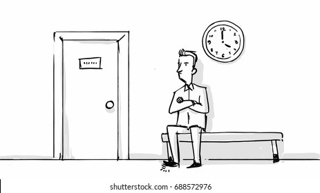 Man in the waiting room of the office, dental clinic or other. Vector sketch for cartoon, storyboard, project