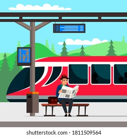 Man waiting train with bag and newspaper on raiway station. Cartoon business worker with luggage on holiday vacation, trip or journey. Public transport vector illustration.