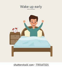 man wake up in the morning. character of people activity daily routine.