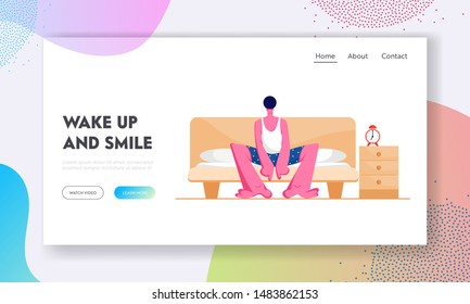 Man Waking Up at Morning in Bad Mood Website Landing Page. Male Character Sitting on Bed after Getting Up. Sleepy Guy Sit on Couch with Closed Eyes. Web Page Banner. Cartoon Flat Vector Illustration