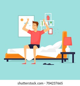 Man waking up in the morning stretching sitting on his bed after getting up. Flat design vector illustration.