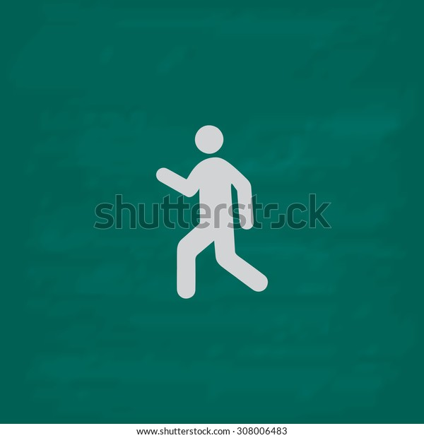 Man walk. Icon. Imitation draw with white chalk on green chalkboard. Flat Pictogram and School board background. Vector illustration symbol