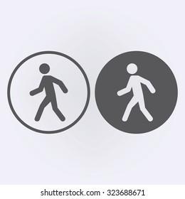 Man walk icon set in circle . Vector illustration