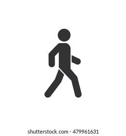 Man walk icon. White background. Outline Vector illustration