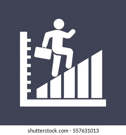 man walk on graph. icon.