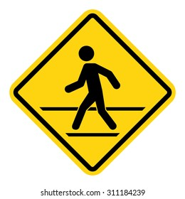 Man walk , road sign