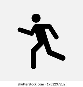 Man walk and run pictogram icon. Man pedestrian sign people and road traffic vector silhouette