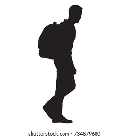 Man walking with backpack on his back, isolated vector silhouette