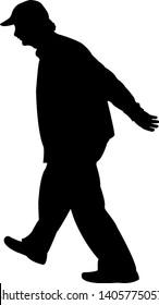 a man walking body silhouette vector