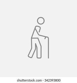 Man walking with cane line icon for web, mobile and infographics. Vector dark grey icon isolated on light grey background.
