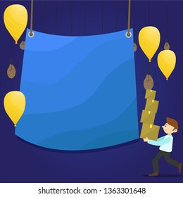 Man Walking Carrying Pile of Boxes and Scattered Yellow Balloons. Blank Color Tarpaulin Hanging in the Center. Creative Background Idea for Celebration, Announcement and Invitation.