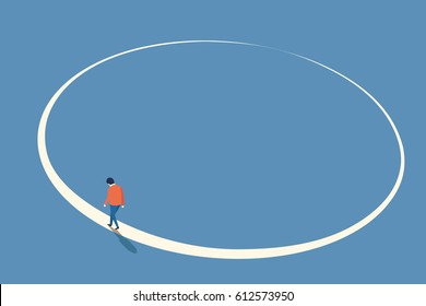 Man walking in circle from beginning and will end at the same point, abstract illustration in concept of lost way, endless journey, think or do something again, back to starting.