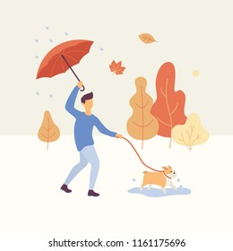 Man walking the dog in the autumn park in rainy weather holding an umbrella, orange and yellow trees are on the background. Autumn concept Vector flat illustration.