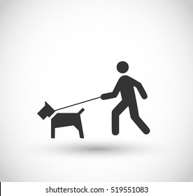 Man walking with a dog icon vector