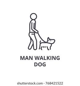 man walking dog line icon, outline sign, linear symbol, vector, flat illustration