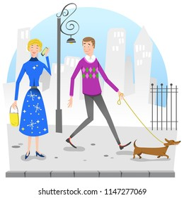 Man walking dog on sideway looking at woman talking on cell phone (vector illustration)