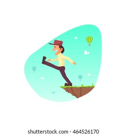 Man walking at the edge of mountain gap he need to jump to get on top of the mountain. Flat style vector illustration clipart. Risky obstacle on a stock market.