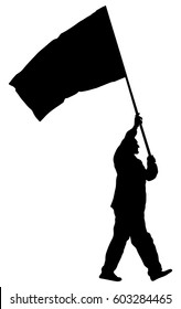 Man walking with flag vector silhouette illustration isolated on white background. Angry protester on the street. Fighter for labor rights. Human rights agitation. Factory strike, walkout. Sport fan.