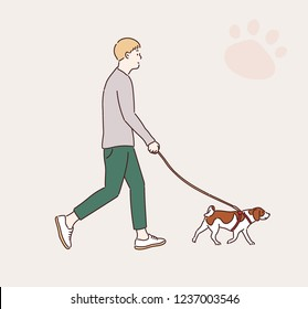 A man is walking with his dog. hand drawn style vector design illustrations.